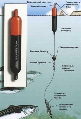 Способ крепления поплавка и оснастки для морской рыбалки с берега